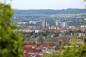 Blick vom Würzburger Schalksberg auf die Residenz