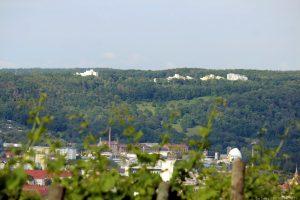 Blick vom Würzburger Schalksberg auf den Hexenbruch in Höchberg