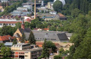 Blick vom Würzburger Stein auf das Kloster Himmelspforten