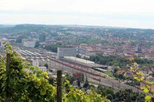Blick vom Würzburger Stein in Richtung Hauptbahnhof
