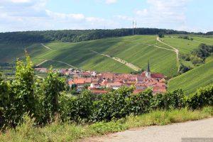 Blick von der Weinlage unterhalb der Vogelsburg auf Escherndorf