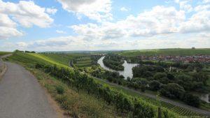 Weg unterhalb der Vogelsburg mit Blick auf Nordheim an der Volkacher Mainschleife