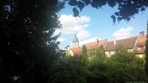 Blick vom Hindenburgpark auf Gaibacher Tor in Volkach