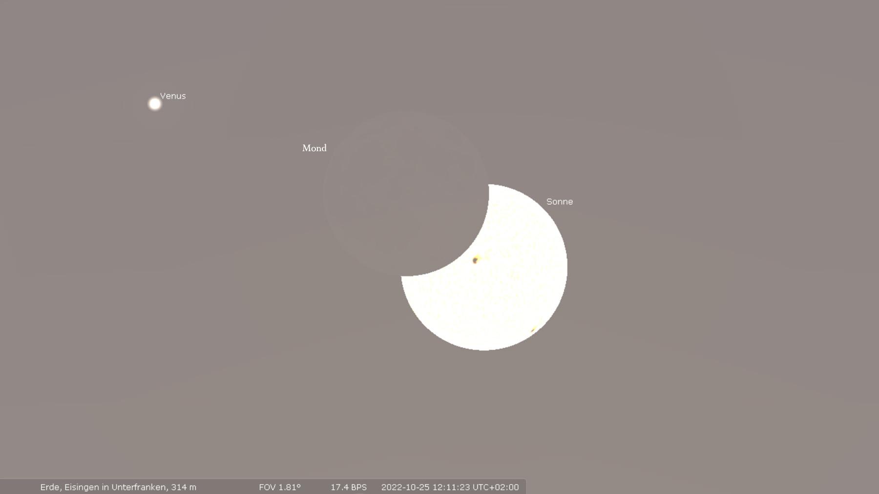 Maximum der partiellen Sonnenfinsternis in Eisingen am 25. Oktober 2022 um 12:11:23 Uhr