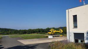 Rettungshubschrauber Christoph 18 am Standort in Ochsenfurt
